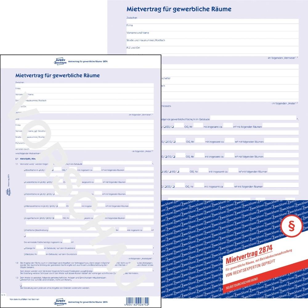 Avery Zweckform Mietvertrag für gewerbliche Räume 2874, brevo-ser