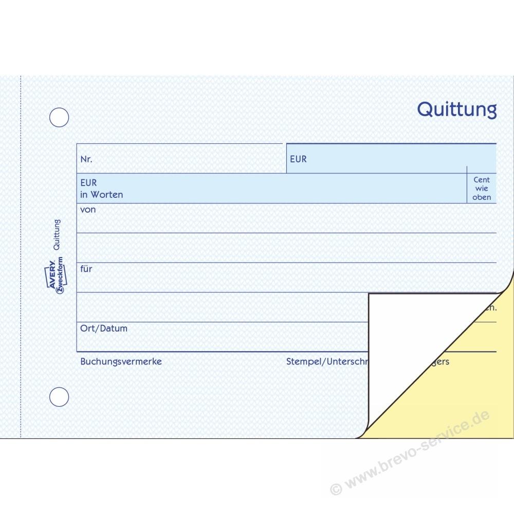 Avery Zweckform Quittung 1742 A6 Quer 2 X 40 Blatt Brevo Servicede