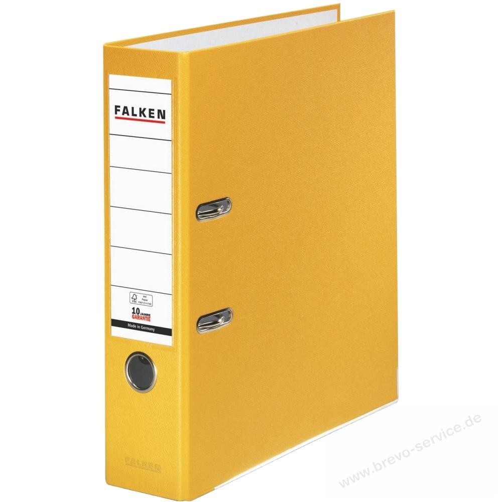 mit Kantenschutz und Griffloch FSC-zertifiziert R/ückenbreite 80 mm DIN A4 Leitz Standard-Aktenordner 180/° gelb