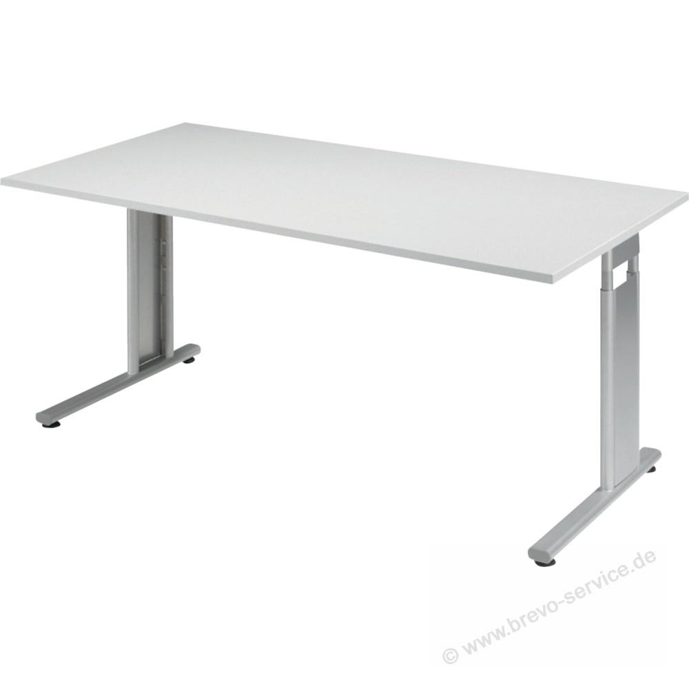 Geramöbel Schreibtisch Lissabon 160 x 80 cm lichtgrau silber, brevo-se