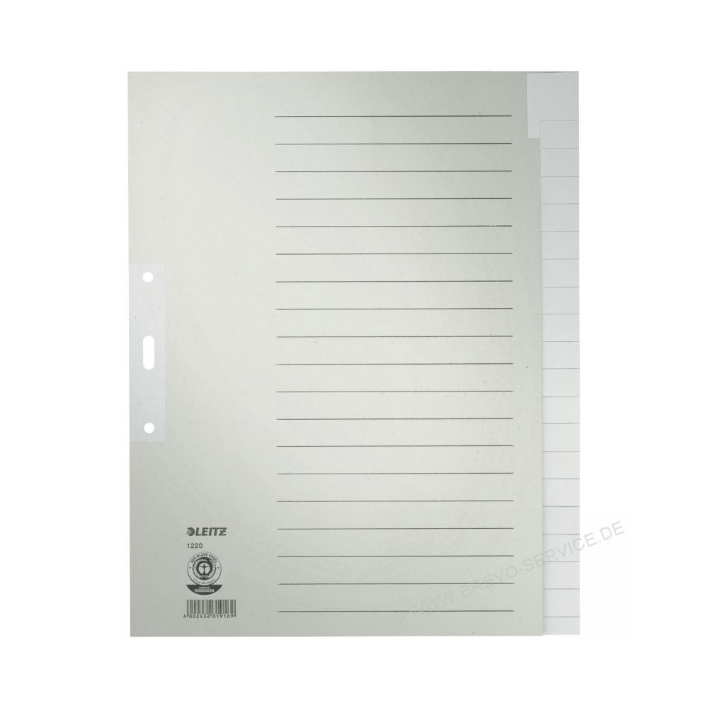 leitz papier register 1220 din a4 blanko grau 20 blatt. Black Bedroom Furniture Sets. Home Design Ideas