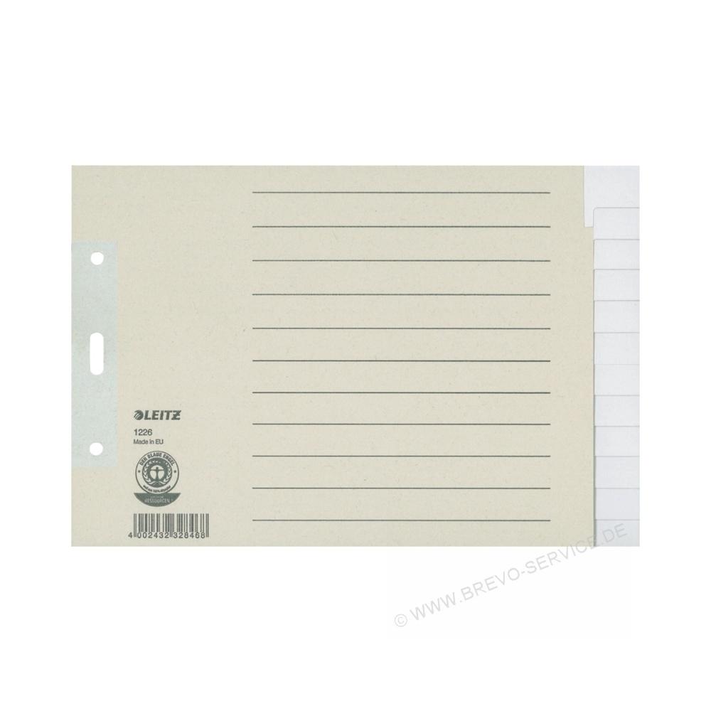 leitz papier register 1226 din a5 berbreite quer blanko grau 12 blatt. Black Bedroom Furniture Sets. Home Design Ideas