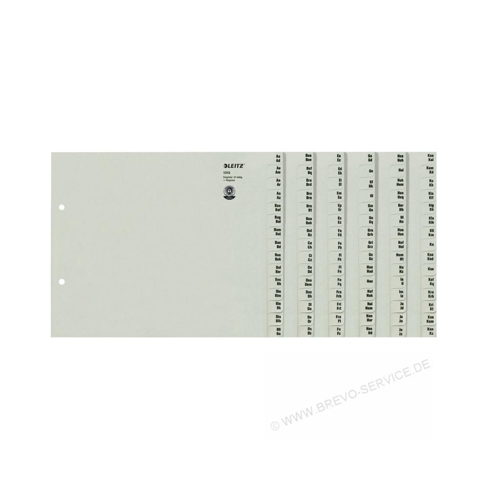 leitz serienregister 1312 a4 12 teilig grau brevo. Black Bedroom Furniture Sets. Home Design Ideas
