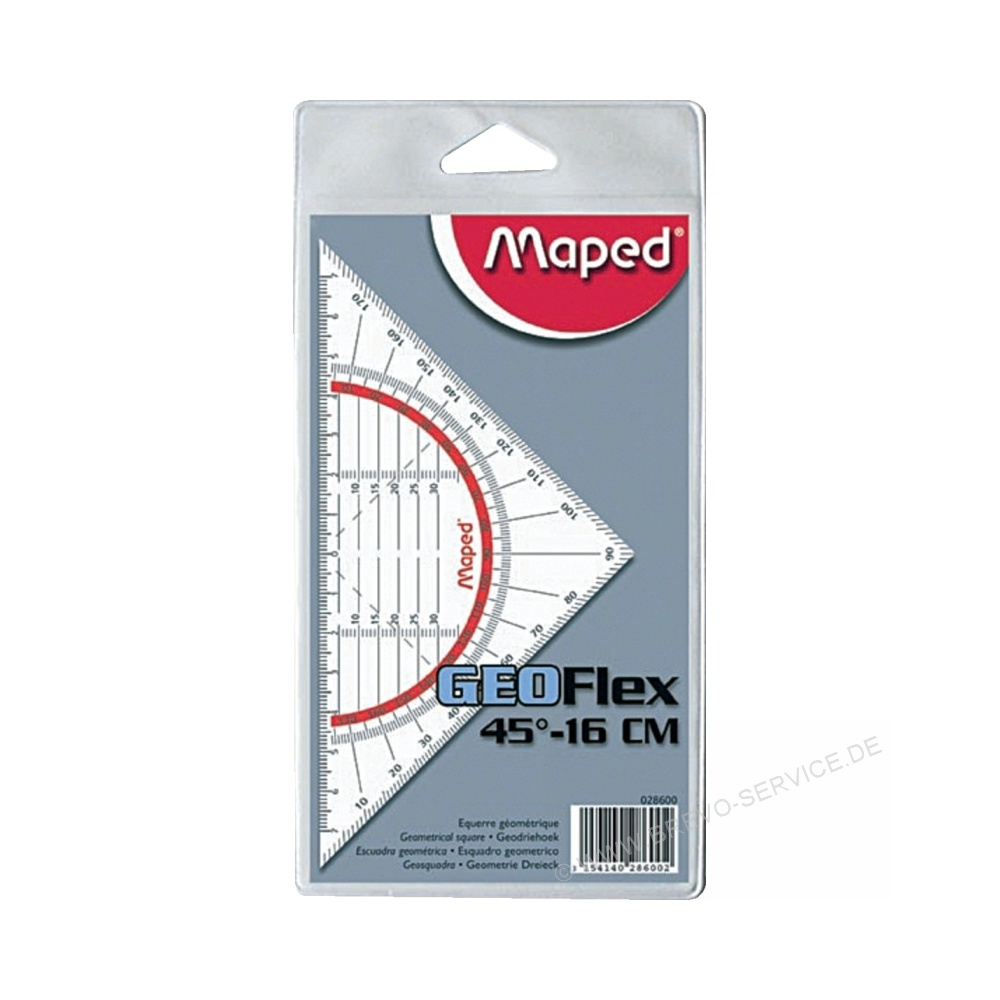 16 cm Maped Geodreieck Geo-Flex Helit M028600 transparent