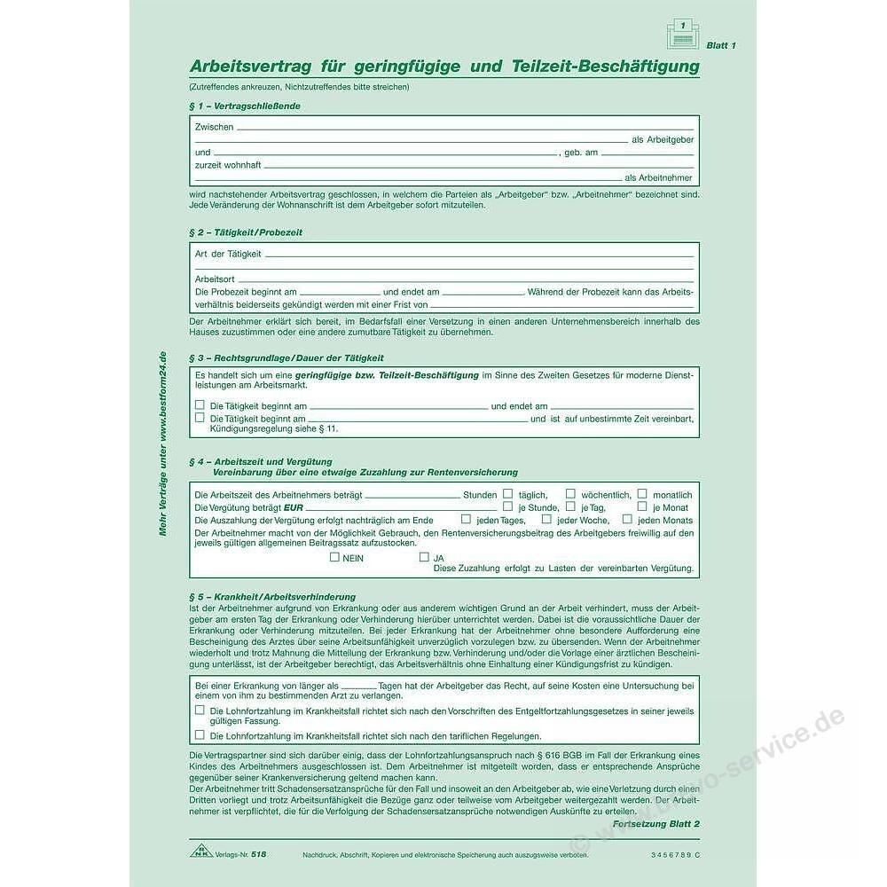 Rnk Arbeitsvertrag Din A4 Sd 2 X 2 Blatt Brevo Servicede