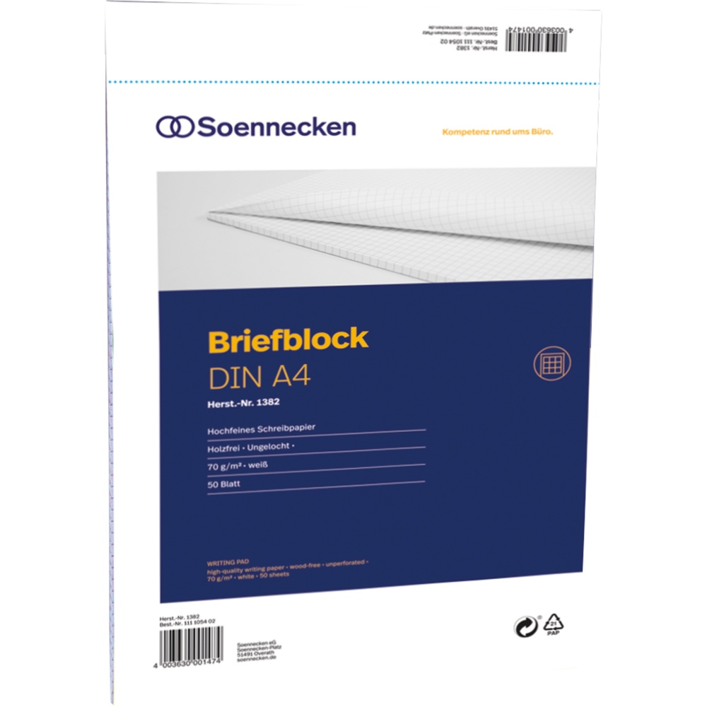 Schreiblock kariert DIN A4 4-fach gelocht 10 Briefblöcke