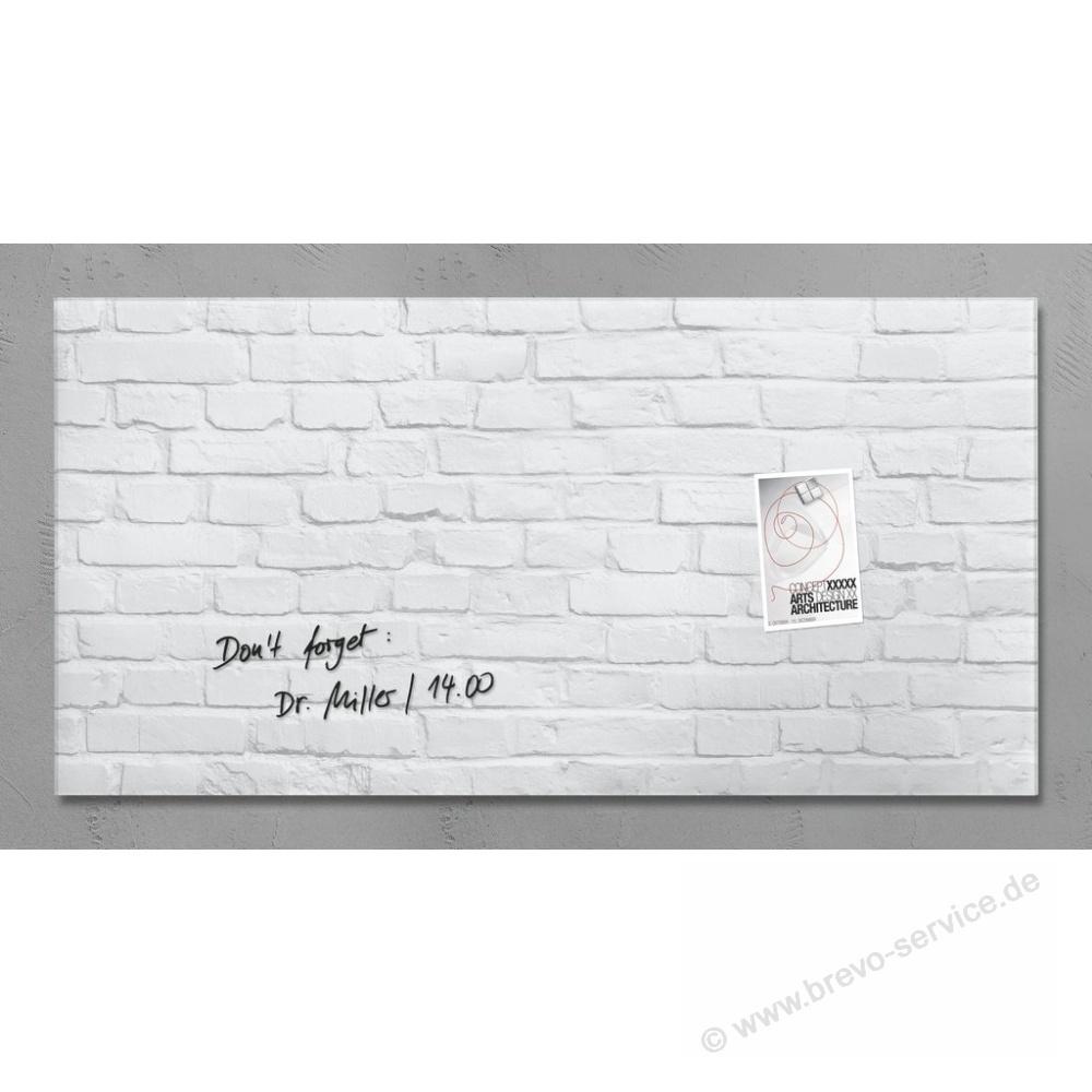 sigel glasboard artverum 91 x 46 cm white klinker brevo. Black Bedroom Furniture Sets. Home Design Ideas