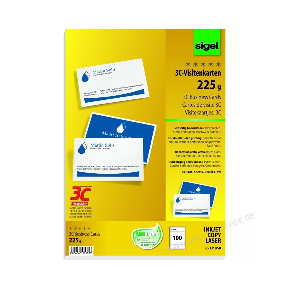 85 X 55 Mm Hochweiß 225 G Qm Sigel Visitenkarten 3c