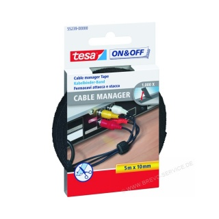 tesa On & Off Cable Manager 55239 10 mm x 5 m schwarz